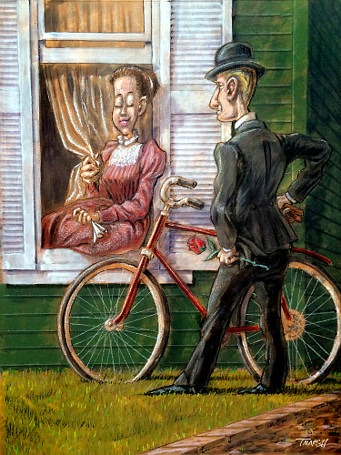 Thomas Marsh Creations artist Los Angeles art artwork color painting illustration vintage couple romance love courting window house bicycle
