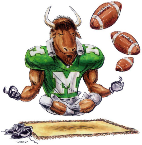 Thomas Marsh Creations artist Los Angeles art artwork color painting illustration Marshall University college football Marco mascot